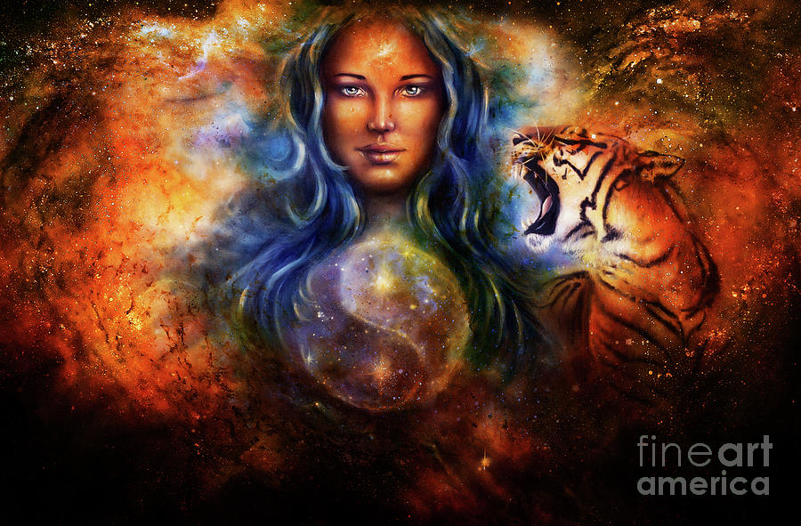 goddess-woman-and-tiger-and-symbol-yin-yang-in-cosmic-space-jozef-klopacka